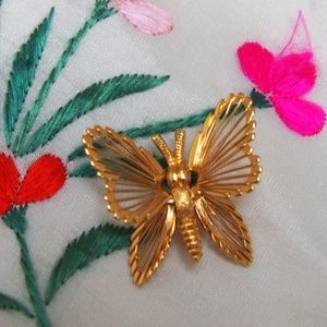 Dainty Wire Wrapped Mini MONET Butterfly Brooch